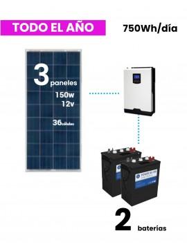 KIT SOLAR 750Wh/día DC Power - uso habitual-tecnosol albacete