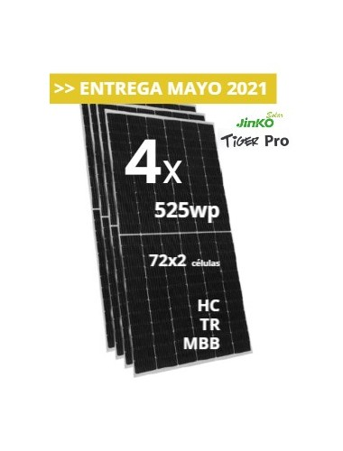 Pack de 4 Placas Solares jinko tiger pro 525w a la venta en tienda online TECNOSOL Albacete
