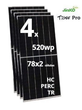 Pack 4 Placas Solares JINKO TIGER Pro 520Wp