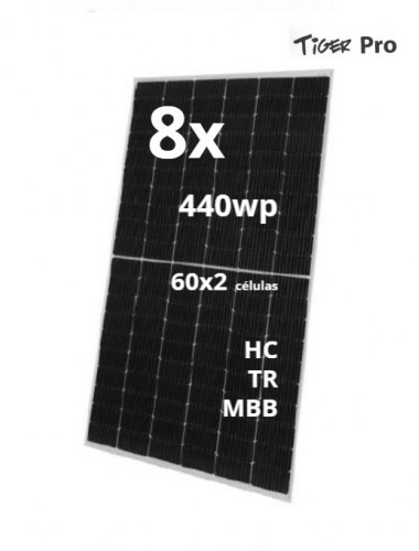 Pack 8 Placas Solares JINKO TIGER Pro 440Wp  modelo JKM440M-6TL4-V Black Frame   a la venta en tecnosolo albacete