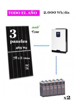 kit solar para vivienda aislada consumo 2000whd anual - uso habitual - a la venta en tienda online TECNOSOL Albacete