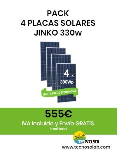 pack 4 placas solares JINKO 330w a la venta en tienda online TECNOSOL