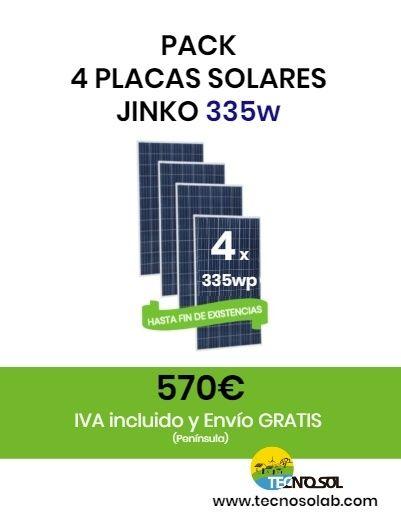 Pack de 4 Placas solares JINKO 335w a la venta en la tienda online TECNOSOL
