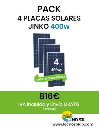 pack de 4 placas solares JINKO CHEETAH 400w - a la venta en tienda online TECNOSOL