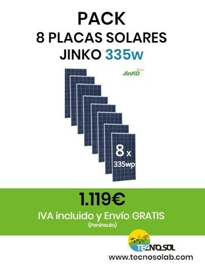 pack de 8 placas solares 335w JINKO a la venta en tienda online TECNOSOL