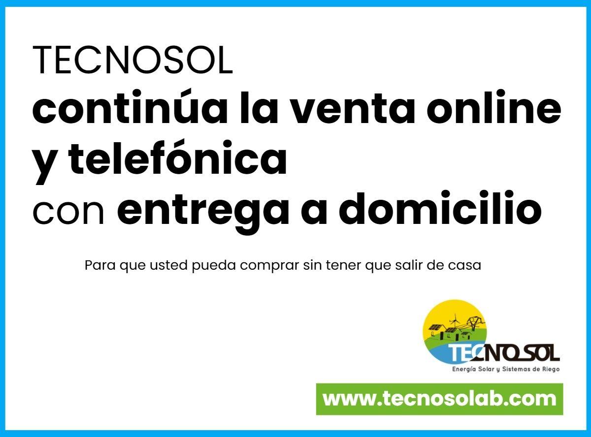 crisis coronavirus - continua la venta online y telefónica de TECNOSOL Albacete- material para instalaciones solares y de riego