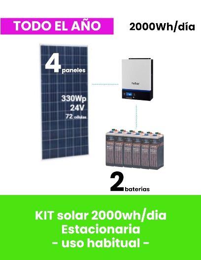 KIT SOLAR 2000Wh/día para vivienda aislada ESTACIONARIA - uso habitual - tienda online TECNOSOL