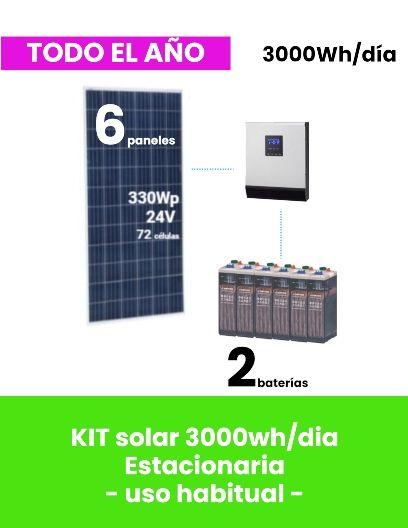 KIT SOLAR 3000Wh/día para vivienda aislada ESTACIONARIA - uso habitual - tienda online TECNOSOL