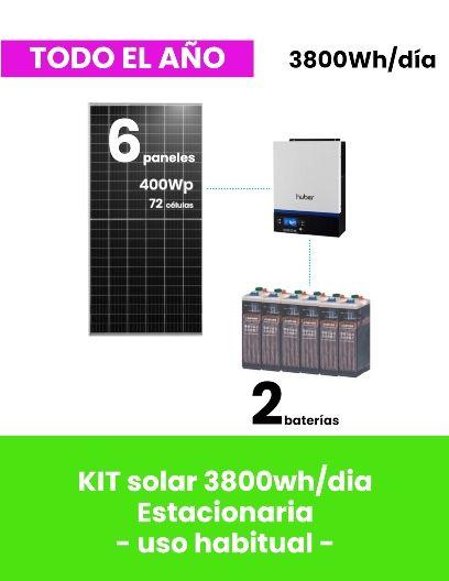 KIT SOLAR para vivienda aislada 3800Wh/día ESTACIONARIA - uso habitual - tienda online TECNOSOL