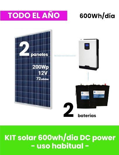 kit solar vivienda aislada 600whd dc power - uso todo el año - tienda online TECNOSOL Albacete