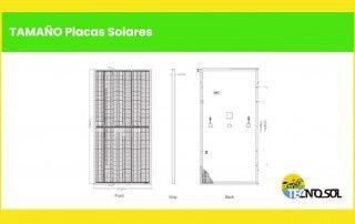 comparativa tamaño de placas solares a la venta en tienda online Tecnosol Albacete