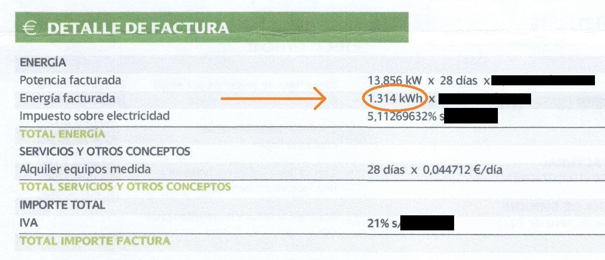 EJEMPLO para ver en factura el dato de CONSUMO MEDIO ELECTRICO MENSUAL - para el Blog de TECNOSOL ALBACETE